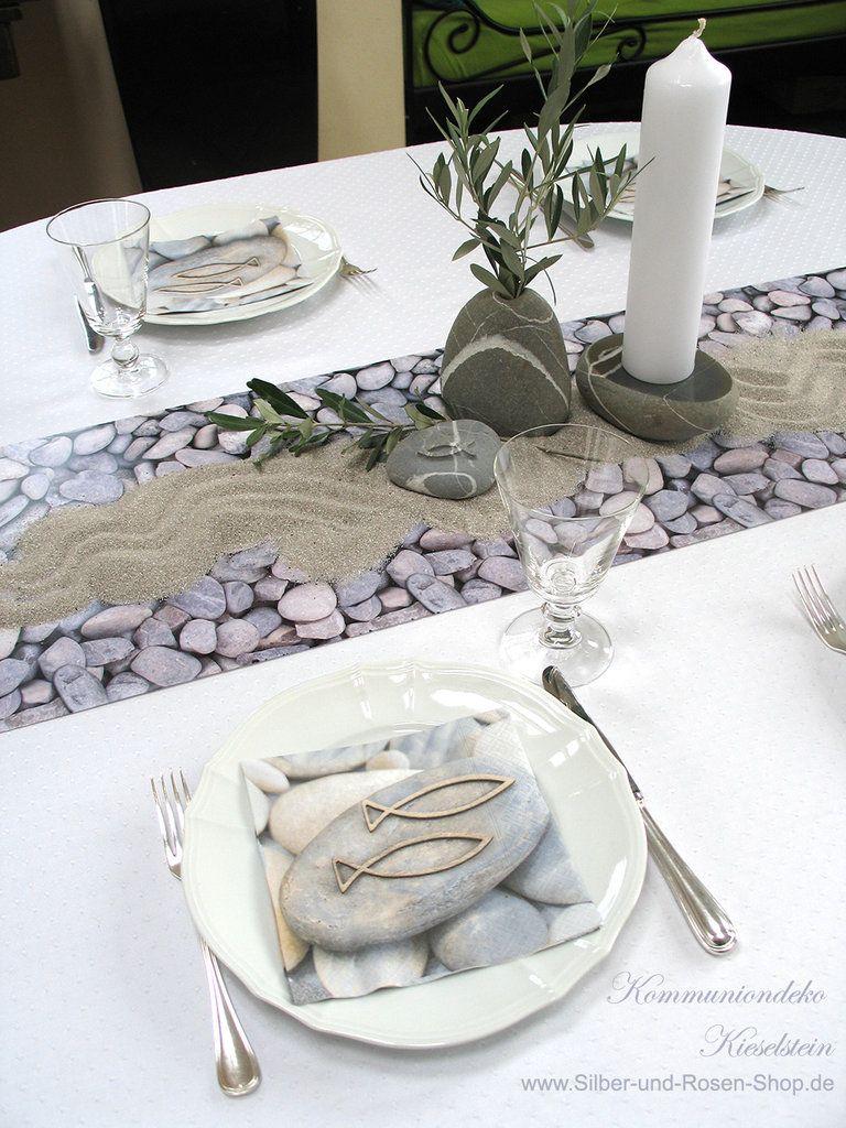 Kieselstein Mit Fisch Ichthys Deko Konfirmation Tischdeko