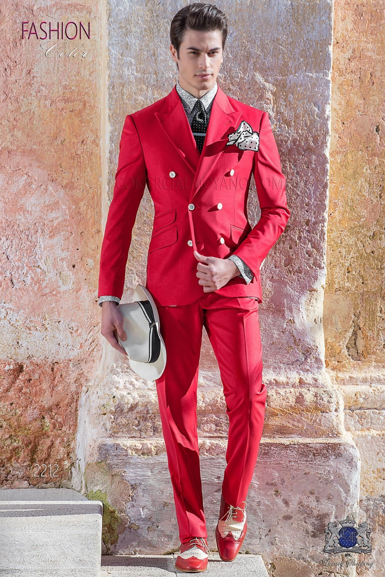 Italian bespoke red new performance double breasted suit # ...