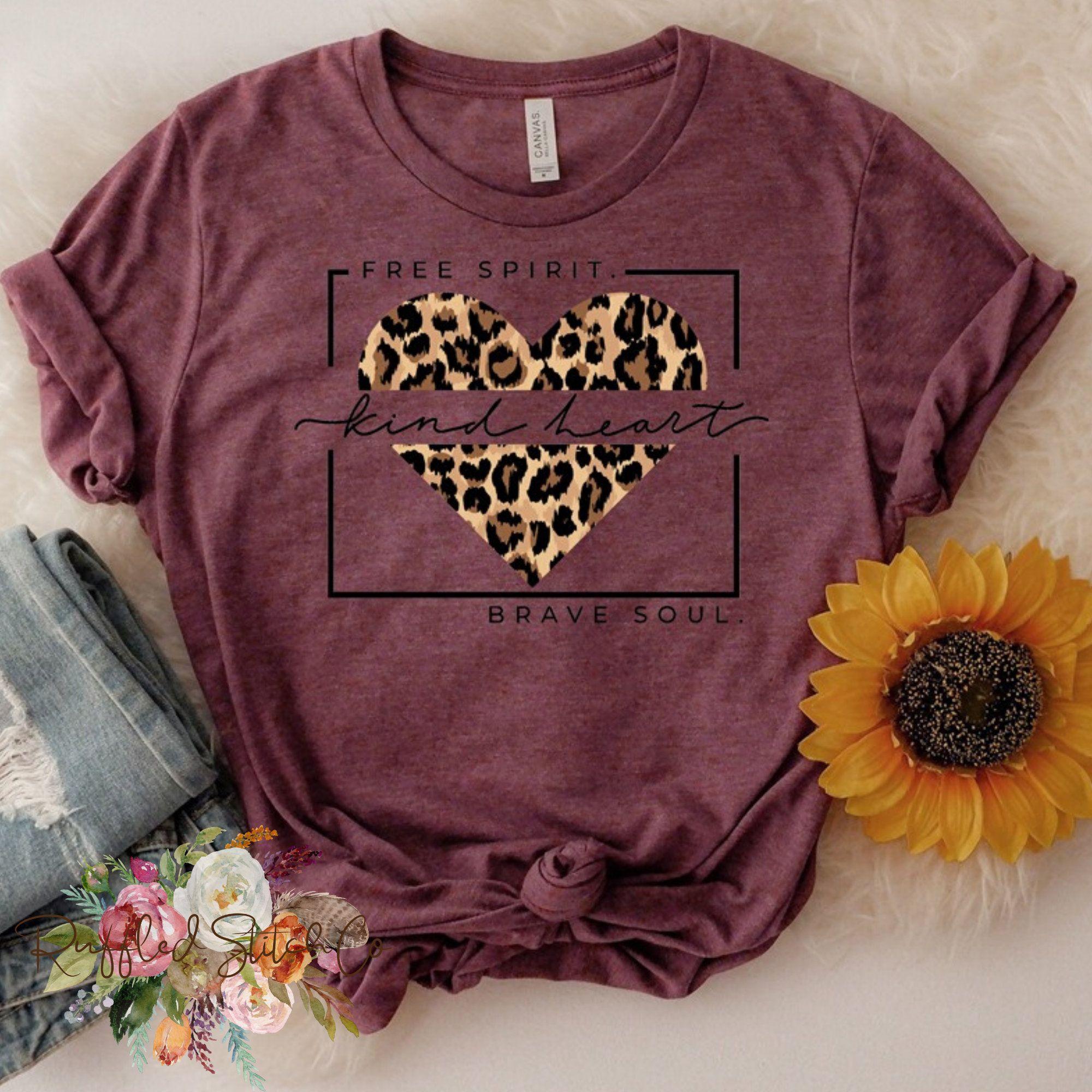Free Spirit Kind Heart Brave Soul Leopard Print Heart Tee
