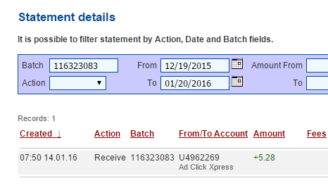 """I am getting paid daily at ACX and here is proof of my latest withdrawal. This is not a scam and I love making money online with Ad Click Xpress."""" Here is my Withdrawal Proof from Ad Click Xpress. I get paid daily and I can withdraw daily. Online income is possible with ACX, who is definitely paying - no scam here. I WORK FROM HOME less than 10 minutes and I manage to cover my LOW SALARY  http://www.adclickxpress.is/?r=dusan95&p=w2"""