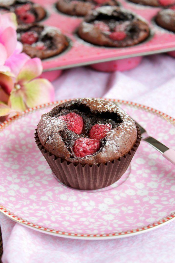 Brownie – Muffins mit Himbeeren #lemonfrosting