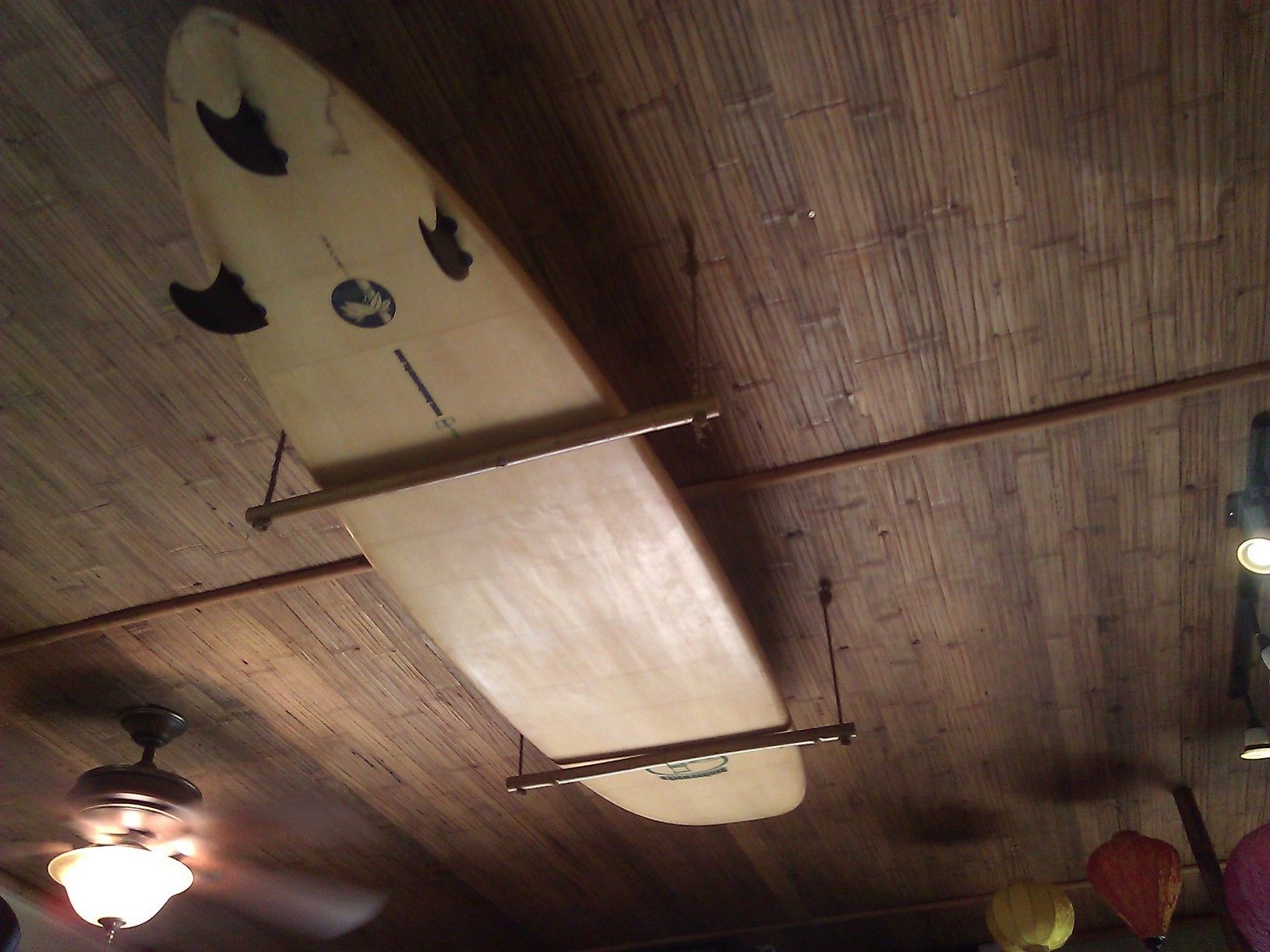 Bamboo surfboard ceiling rack furniture pinterest surfboards bamboo surfboard ceiling rack amipublicfo Images