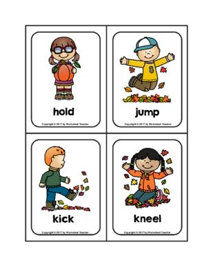 Autumn Action Verb Picture Word Flash Cards Flash Cards Action