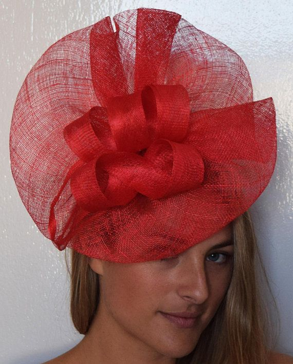 Theheadwearboutique On Etsy 65 Usd Tia Large Bright Red Fascinator Royal Wedding Fashion