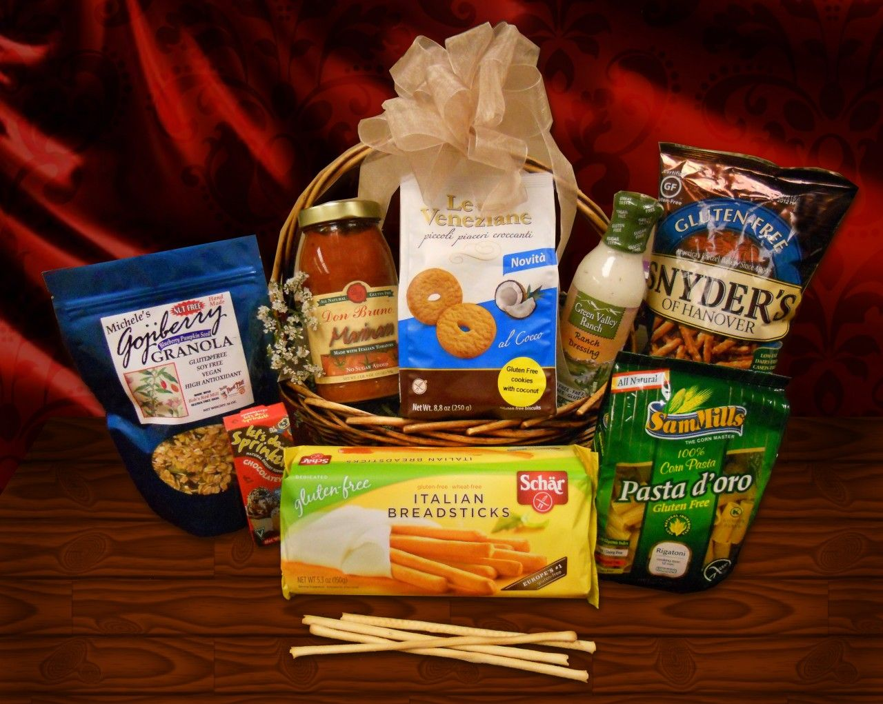 Gluten free gift basket gluten free gifts gluten free and caramel gluten free basket uncle giuseppes stores have been offering gluten free foods for many negle Choice Image