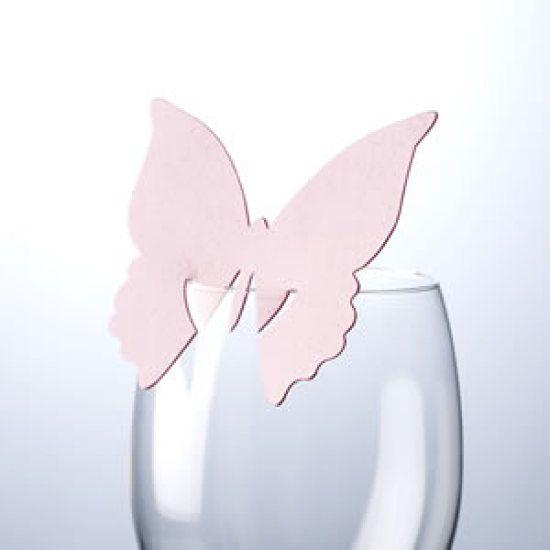 Placeringskort Fjäril - baby pink