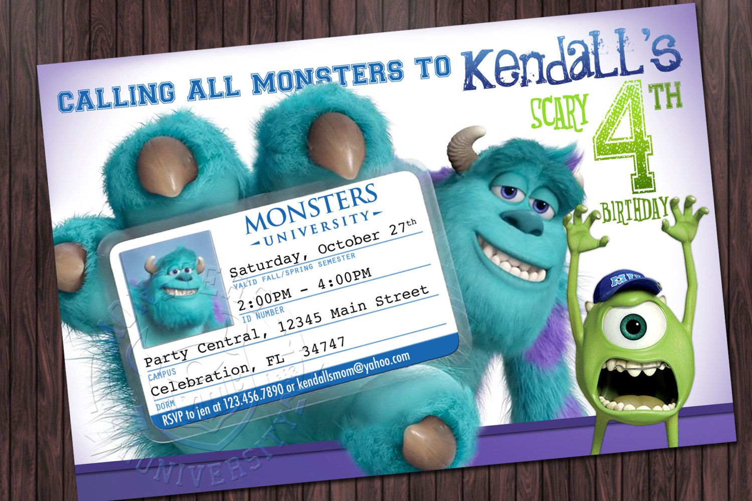 Monsters University Inc Party Invitation by sssdesignscreations ...