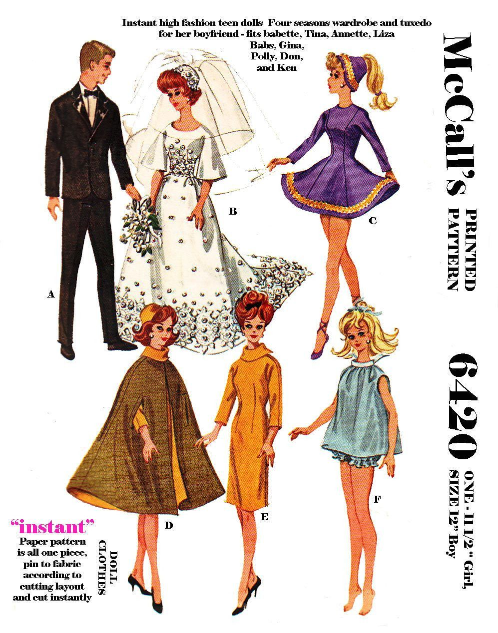 7 99 Vintage Mccalls 6420 Barbie And Ken Doll Clothes Sewing