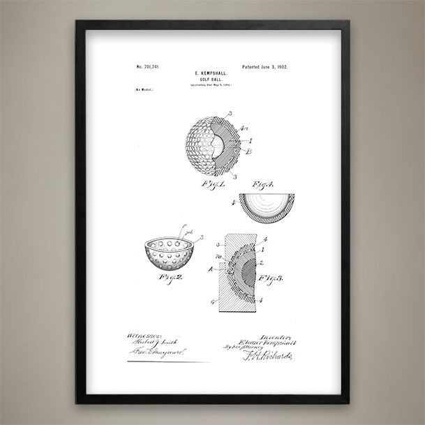 Office Pictures For Walls Golf: Golf Ball, Patent Prints