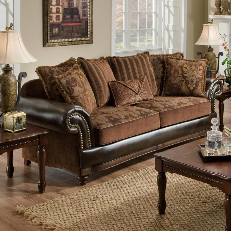 7500 Faux Leather And Fabric Sofa With Rolled Arms And