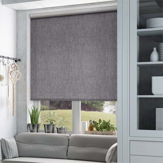 Thermal Luxe Dimout Cinder Roller Blind Blue Roman