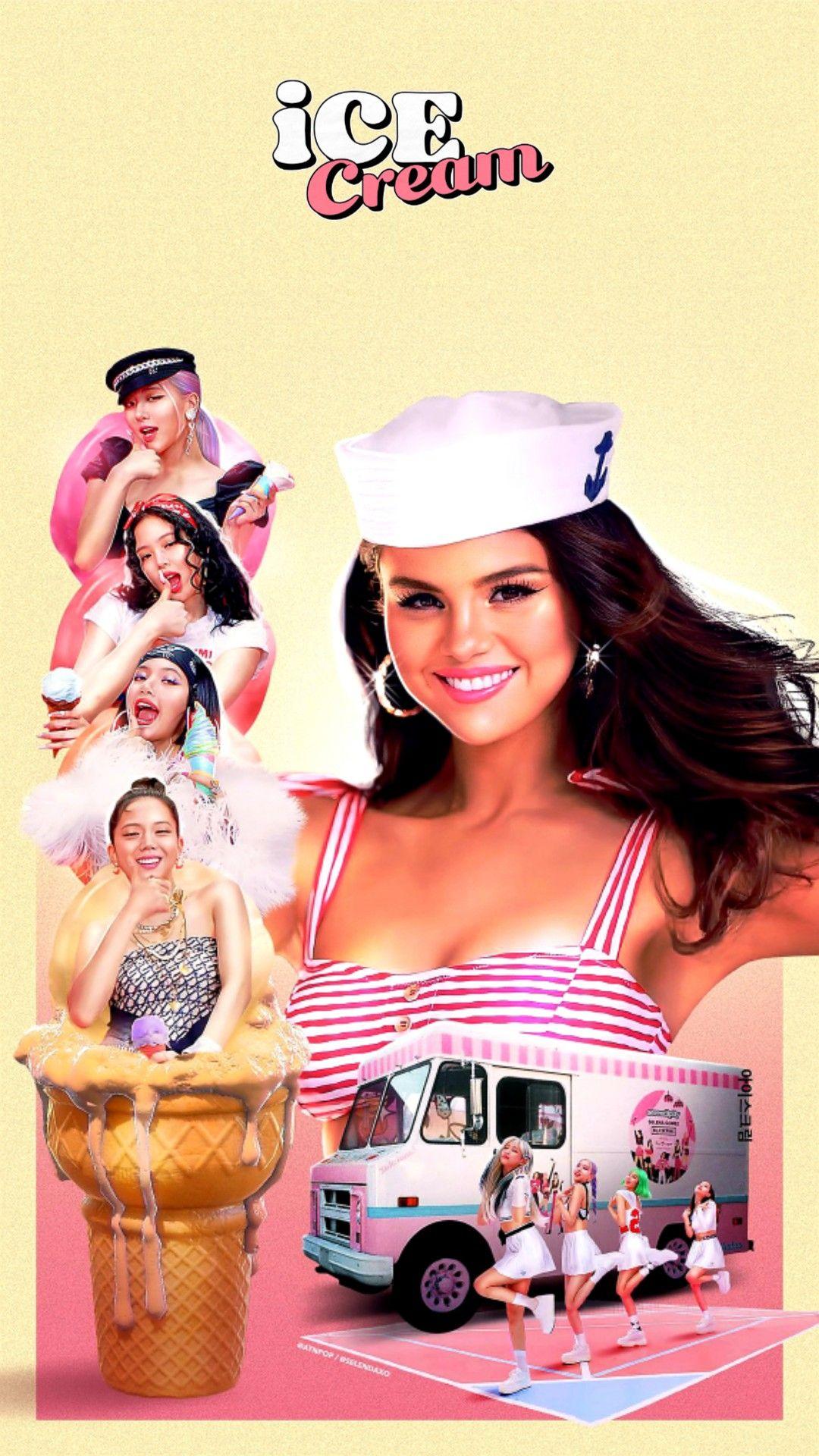 Ice Cream Blackpink X Selena Gomez Wallpaper Art From Twitter Selendaxo In 2020 Selena Gomez Wallpaper Blackpink Ice Cream Wallpaper