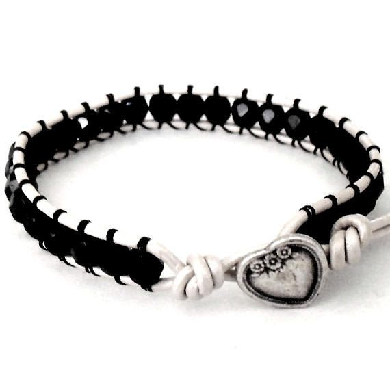 white Beaded Leather Wrap Bracelet  | Black & White Beaded Leather Wrap Heart Button Bracelet