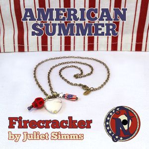 """Chain: 20"""" Antique Brass Link Chain Glass Beads: BlueMetal Beads: Brass, SilverDotted Ring: Anitque BrassSkull: HowliteHeart: HowliteFlag: HowliteStar: Tibetan SilverTag: NTIO/ Juliet (brass)Size: Fits AllClose-up Photo: Not Actual SizeAmerican Summer by Juliet Simms is a fun summer line reminding us that the 4th of July signifies freedom and independence not only for the people of the USA but also for the example it sets for the rest of the world.The link chain is antique brass plate…"""