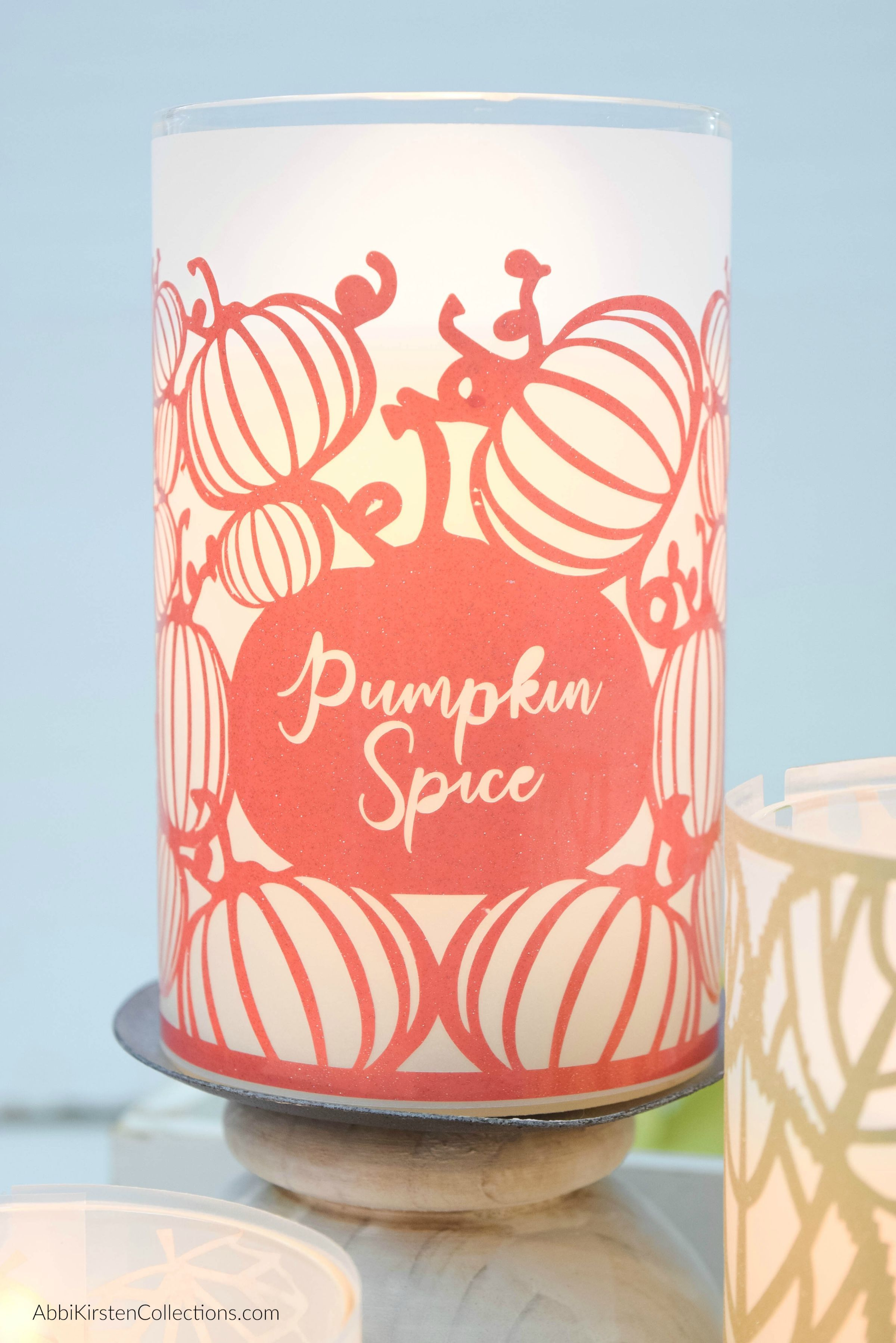 DIY FALL TABLE DECORATIONS CANDLE WRAPS WITH CRICUT FREE