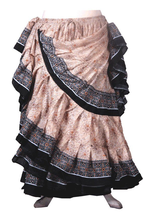 Black Solid Color 25 yard 4 tiered Cotton ruffle belly dance skirtgypsyrenaissancebohemian