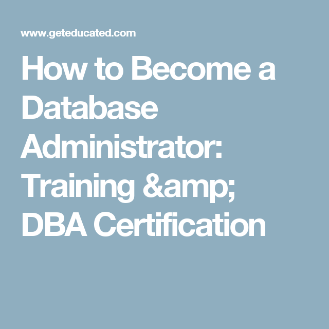 How To Become A Database Administrator Training Dba Certification