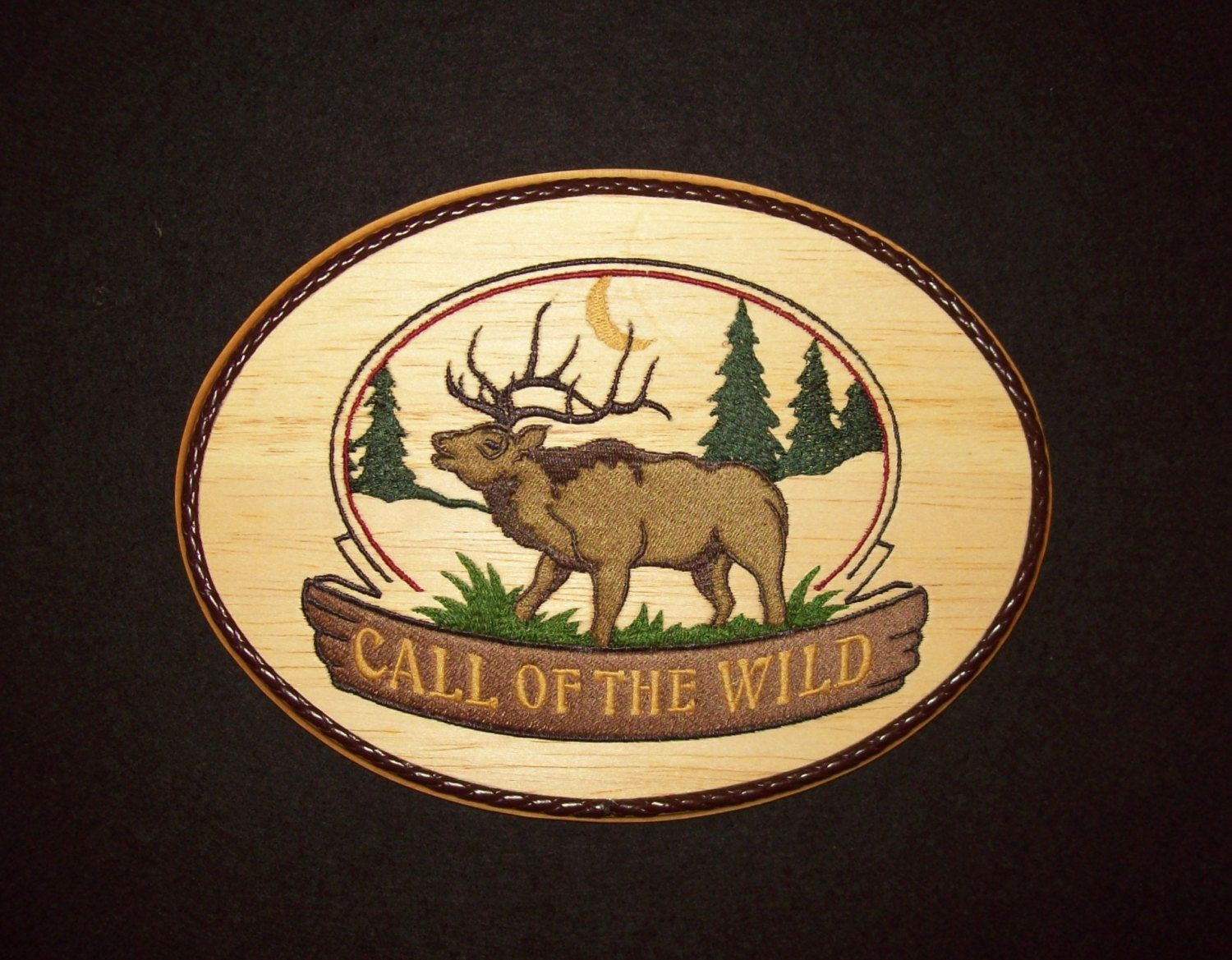 Elk wall hanging embroidery wood art woodland decor wildlife call of the wild elk woodland wildlife wall decorembroidery on balsa wood by amipublicfo Image collections