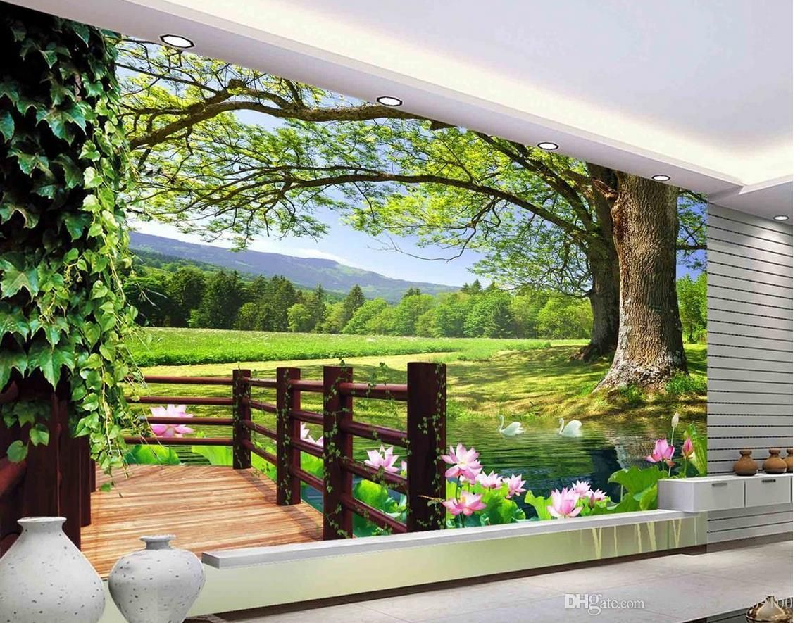 Luxury European Modern Hd 3d Tree Landscape Background Wall Mural 3d Wallpaper 3d Wall Papers For Tv Backdrop Wall Murals 3d Wall Murals Mural Wallpaper