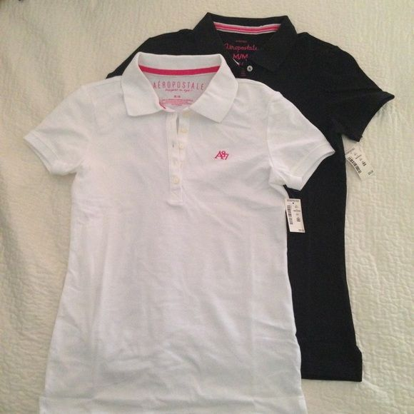 TWO Aeropostale NEW polo shirts Med black white TWO brand new with tags!! Aeropostale polo shirts in black & white. Excellent condition, non smoking home. Aero medium is comparable to Old Navy XS. Aeropostale Tops