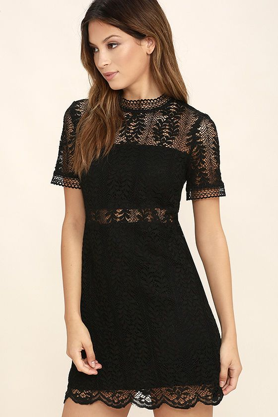 Slip on the Mink Pink Tell Tale Black Lace Dress and dance like there s  nobody watching! Partial lining creates a cool two-piece look beneath sheer  black ... eb0698e05