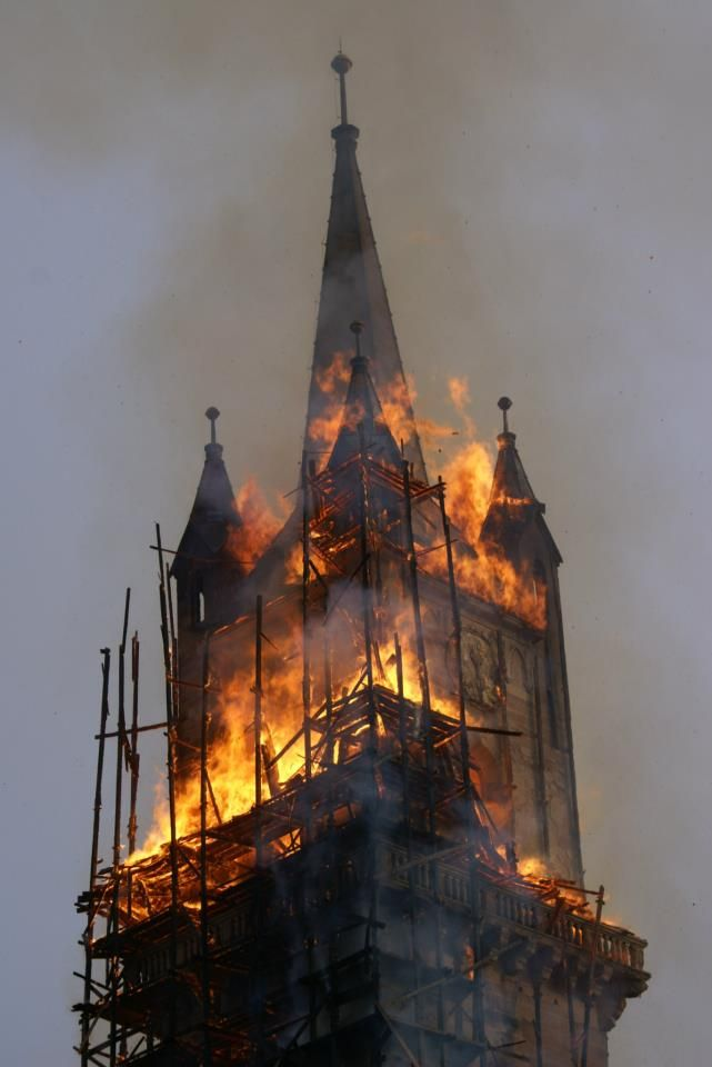 Burning Church that pony boy and Johnny ran in to