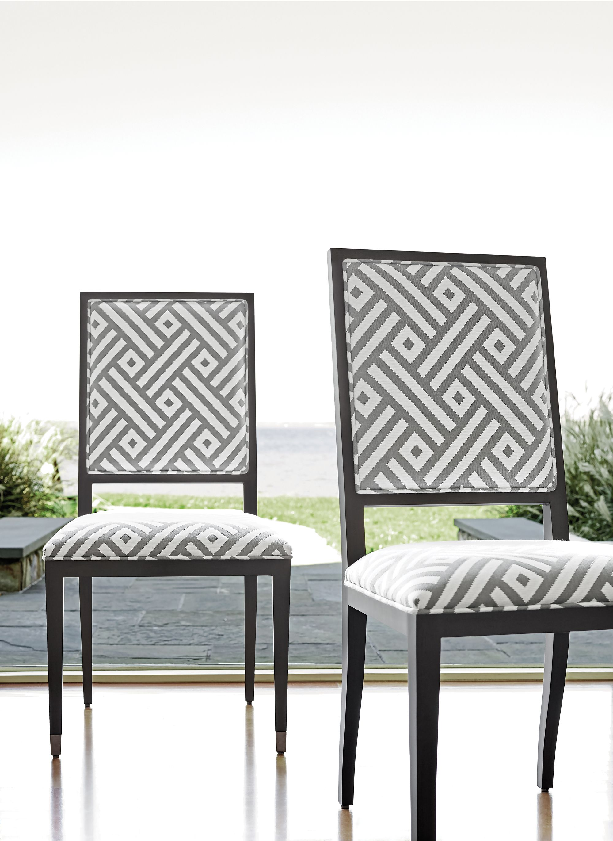 Lauderdale Chairs From Thibaut Fine Furniture In Parterre Indoor/outdoor  Fabric In Heather Grey.
