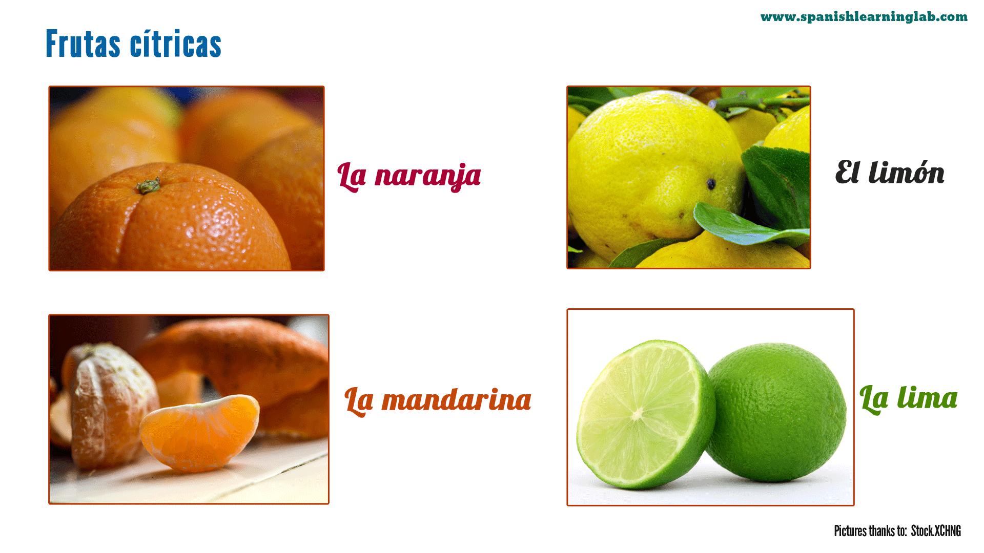 Some Common Names Of Citrus Fruits In Spanish Including La Naranja El Limon La Mandarina Y La