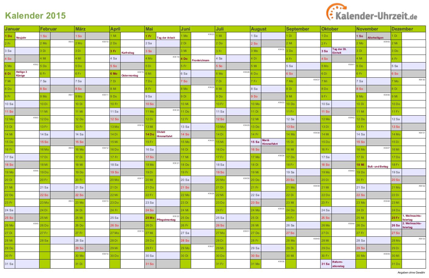 Kalender 2015 In Grun A4 Querformat Einseitig Kaluhr Kalender Kalender 2016 Kalender Feiertage