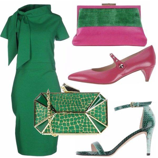 Verde smeraldo & fuxia: outfit donna per cerimonia e scuola/universit  |  Bantoa