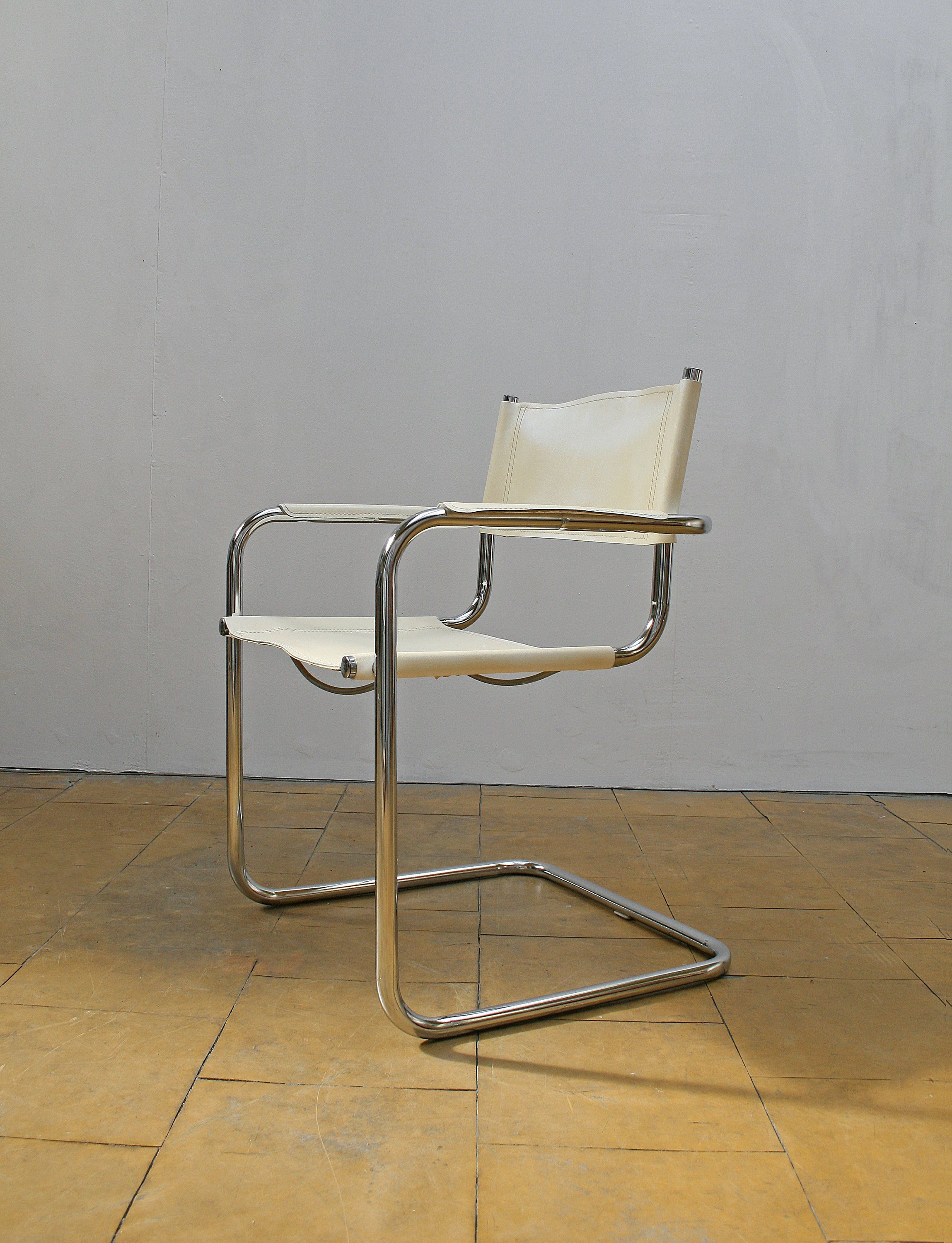 Vintage Marcel Breuer S34 Genuine White Leather Cantilever