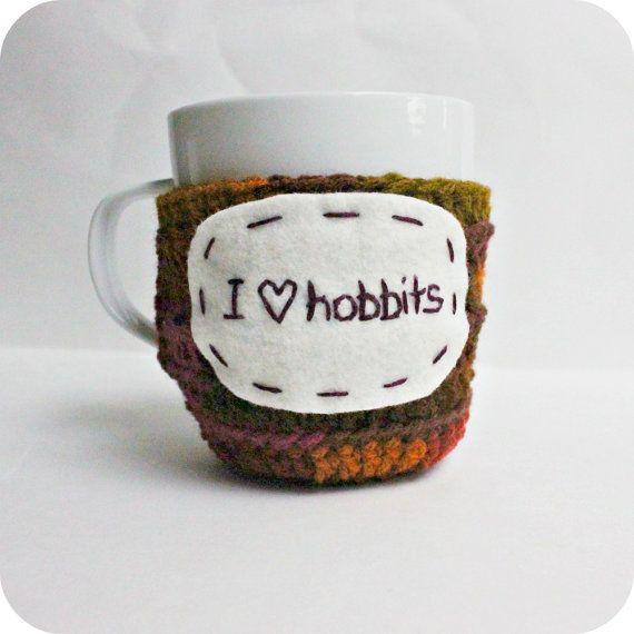 Hobbit funny coffee cozy mug cozy tea cup crochet by KnotworkShop ...
