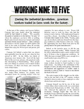 Industrial Revolution S Effects On America Article And Worksheet