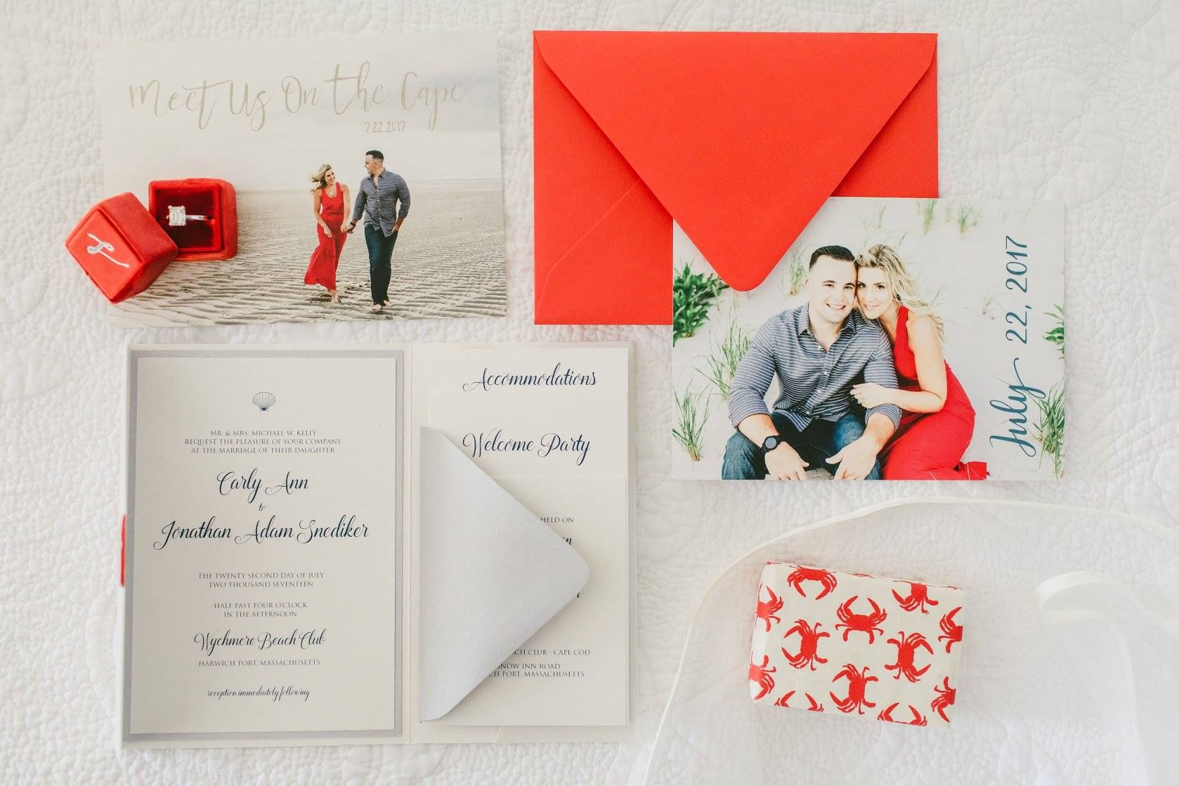 Custom wedding invitation suite | Seaside chic with a pop of red ...