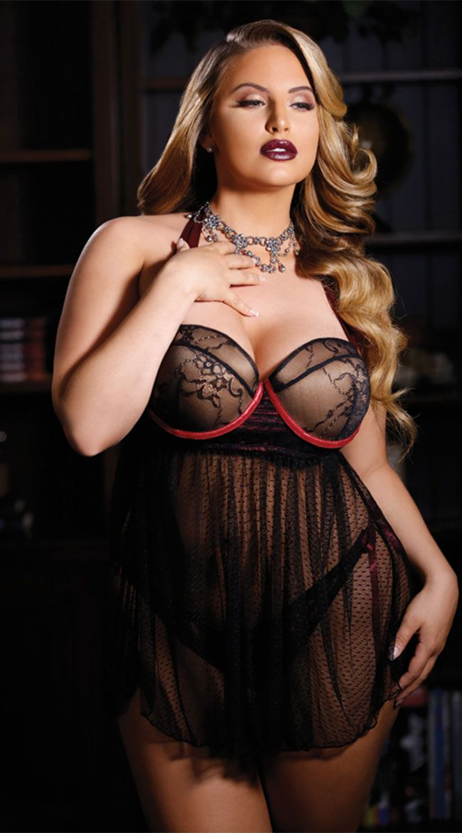 d5c905cf41c Plus Size Hayworth Mesh and Lace Babydoll Set