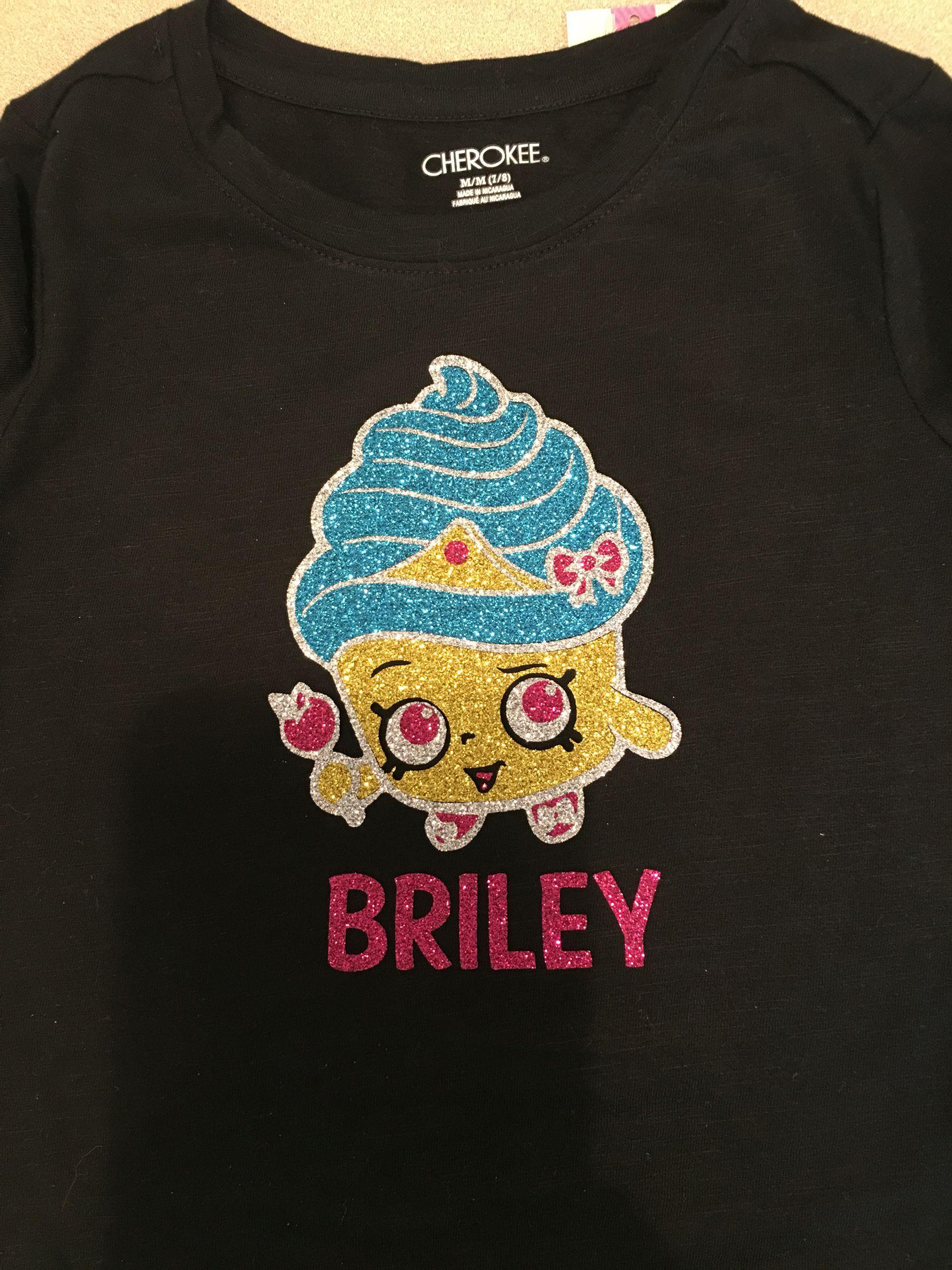 Shopkins Personalized Birthday Shirt Girls Vinyl Heat Transfer Cupcake Queen