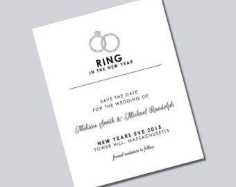 New Years Eve Wedding Save The Date Cards