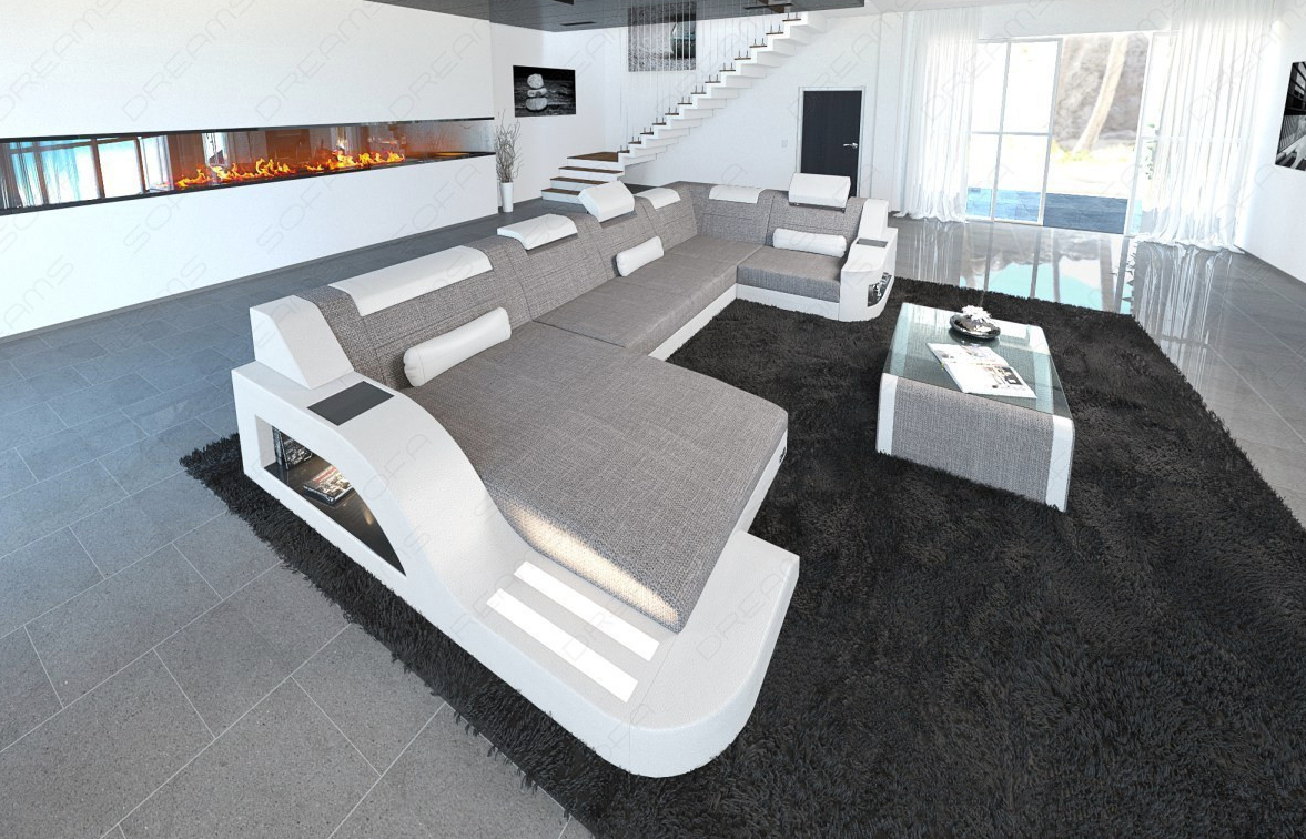 Fabric Sofa Detroit U Shape Led Modern Fabric Sofa White Leather Sofas