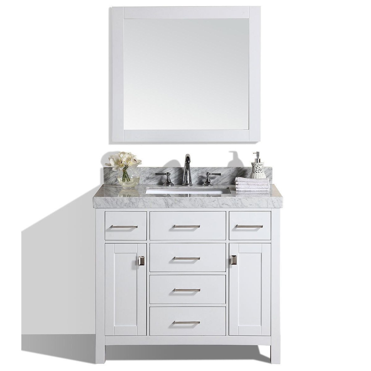 Pacific Collection 40-inch Malibu White Single Modern Bathroom ...