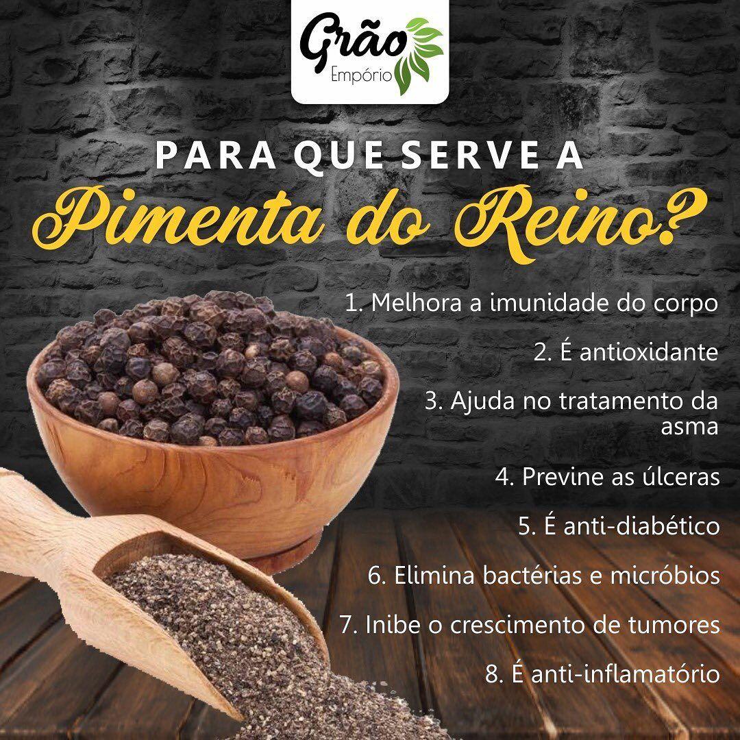 Saiba para que serve a Pimenta do Reino. .  #graoemporio#grao#produtosnaturais#vidasau...