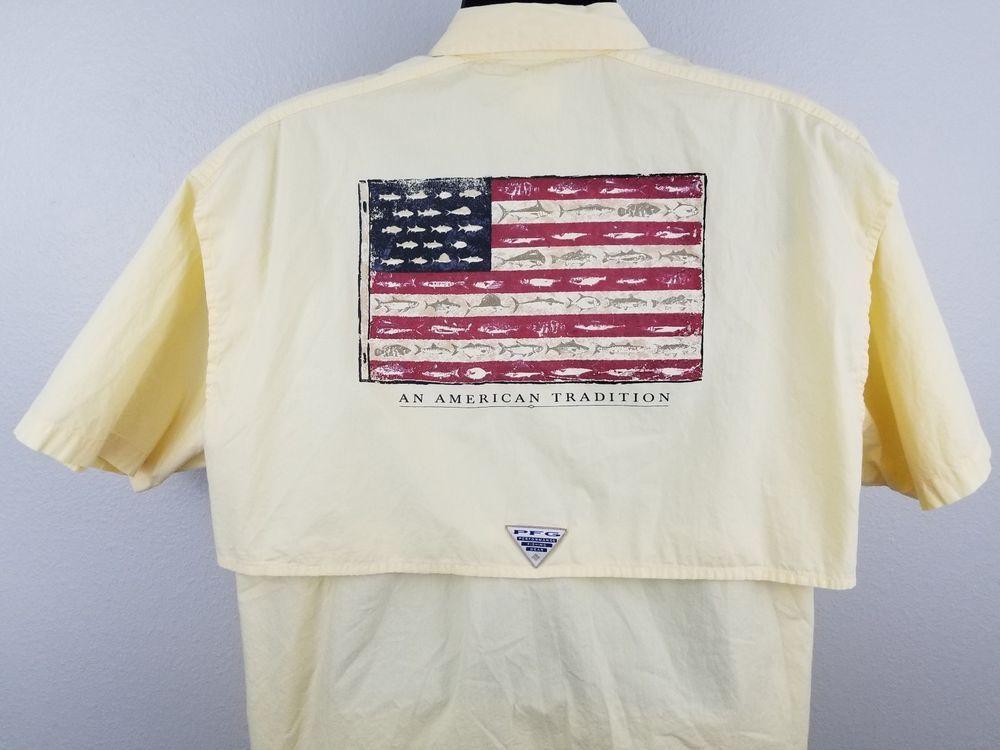 Download Columbia American Flag Fishing Shirt PFG Mens Size Large ...