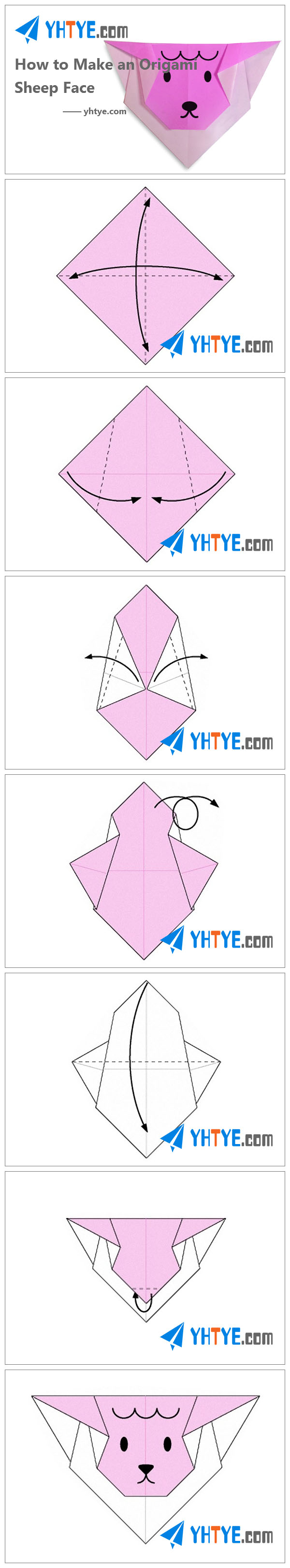 How to Make an Origami Sheep Face Origami instructions