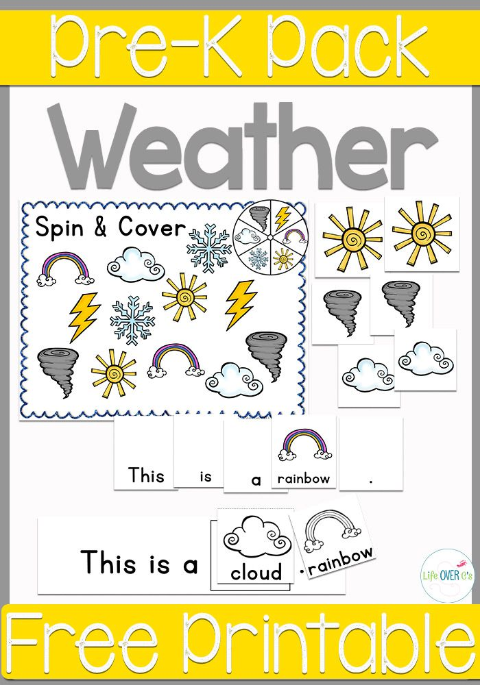 Free Printable Weather PreK Pack home schooling