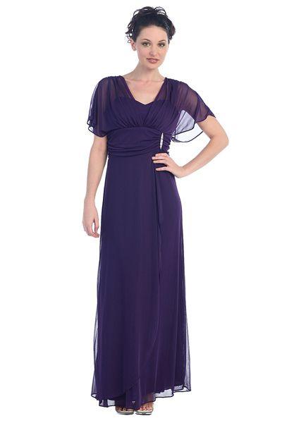 New Misses Long Purple Chiffon Sleeves Dress Medium Dresses Formal ...