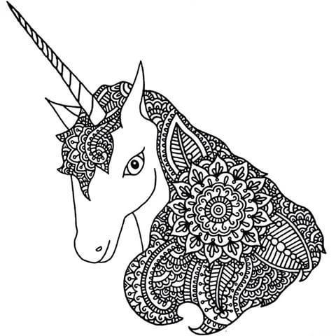 Unicornios: Mandalas y Zentangles con Pegasus para colorear   Mandalas