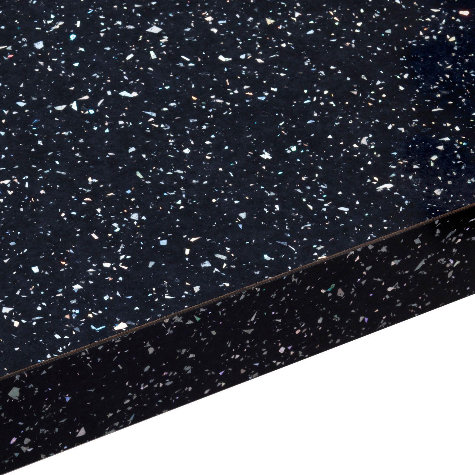 Bq Ceramic Kitchen Floor Tiles 38mm Bq Astral Black Gloss Square Edge Kitchen Worktop L3m D