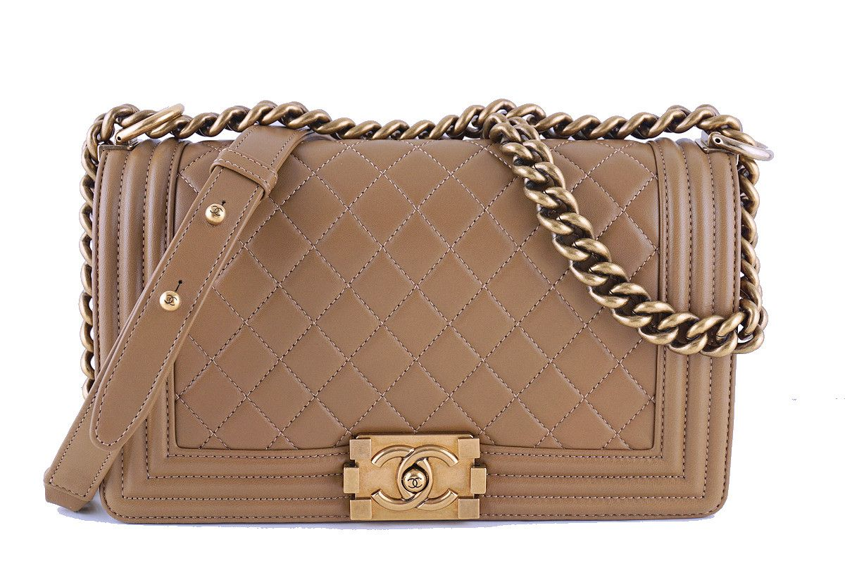 0095f3a4002d Chanel Caramel Beige Le Boy Classic Flap, Medium Lambskin Bag - Boutique  Patina - 1
