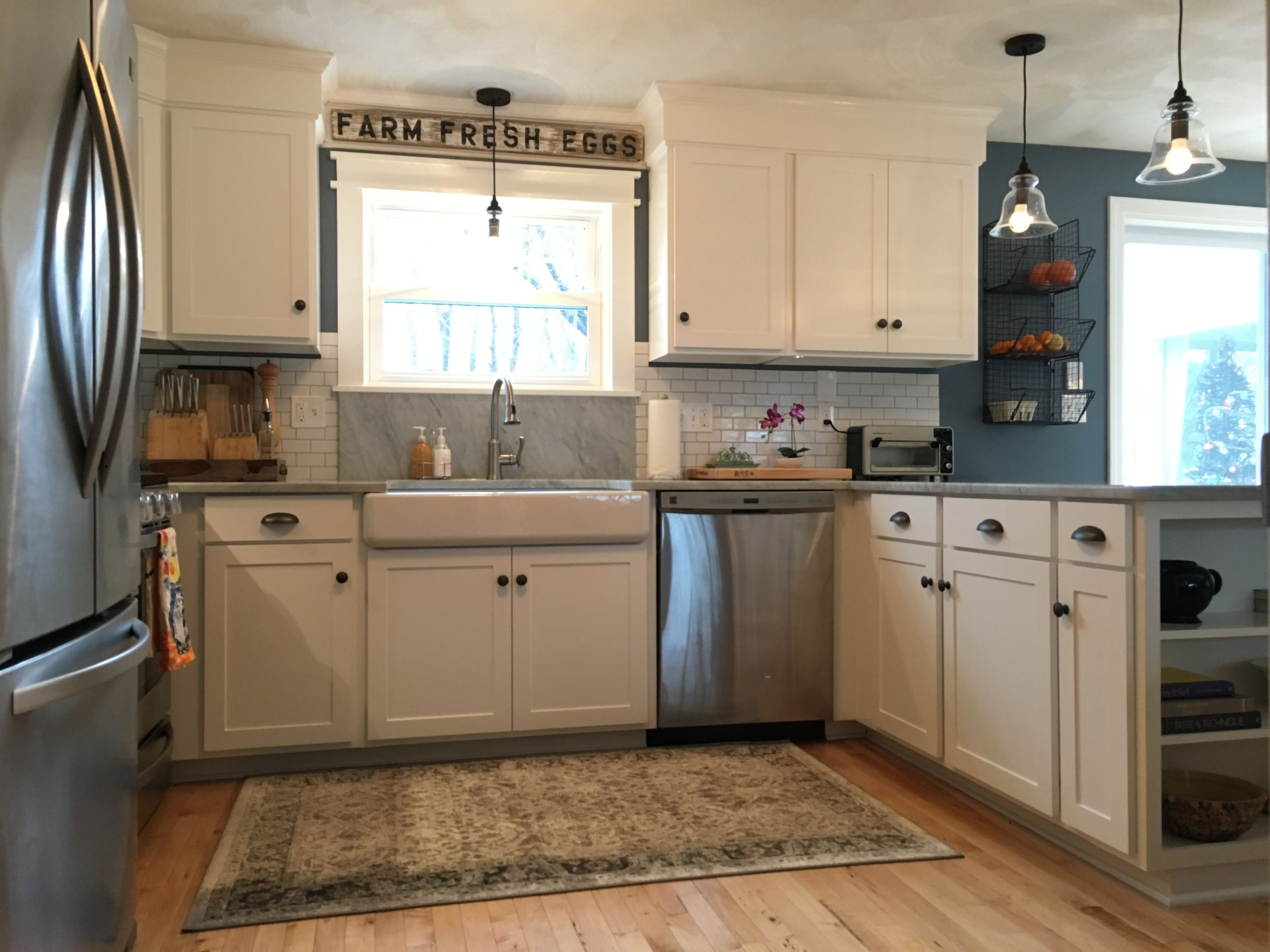 Kitchen remodel-adirondack blue Behr wall color, simply ...