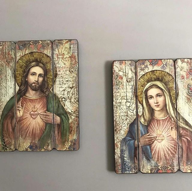Wedding Prayer Altar: The Sacred And Immaculate Heart Wall Plaques