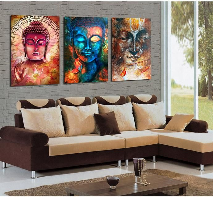 3 Pieces Buddha Painting Canvas Wall Art Buddha Wall Art Living Room Canvas Prints 3 Piece Canvas Art